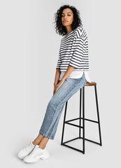 Кофта, блузка, футболка женская O'stin Полосатый женский джемпер с имитацией рубашки LT1W52-00