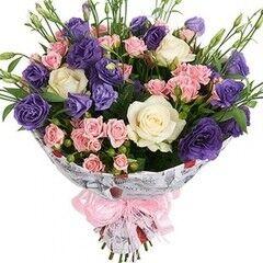 Магазин цветов Florita (Флорита) Букет поздравительный из роз и эустомы