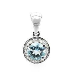 Ювелирный салон Evora Подвеска из серебра 925 пробы с голубым топазом и фианитами 628699