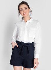 Кофта, блузка, футболка женская O'stin Рубашка изо льна с накладными карманами LS1WC4-00