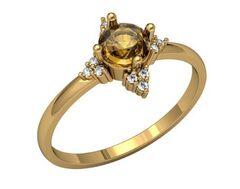 Ювелирный салон ZORKA Кольцо из розового золота с раухтопазом 2С9074