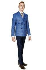Пиджак, жакет, жилетка мужские HISTORIA Пиджак мужской двубортный светло-синий в клетку H01