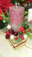 Магазин цветов Florita (Флорита) Новогодняя композиция на натуральной основе на одну свечу арт. 201219
