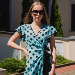 Платье женское It's me! (Это Я!) Платье в бирюзовом цвете в горошек