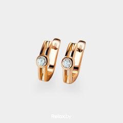 Ювелирный салон Белорусские Бриллианты Серьги из золота со вставкой бриллиант синт. 31010005