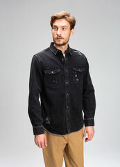 Кофта, рубашка, футболка мужская O'stin Джинсовая мужская рубашка из плотного денима MS4V48-99