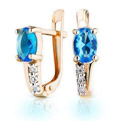 Ювелирный салон Jeweller Karat Серьги золотые с бриллиантами и топазом арт. 3226029/9