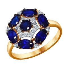 Ювелирный салон Sokolov Кольцо из золота с бриллиантами и сапфирами 6012071