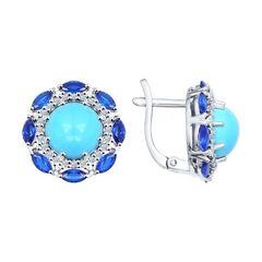 Ювелирный салон Sokolov Серьги из серебра с бирюзой синтетической и синими фианитами 94021987