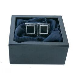 Подарок HISTORIA Запонки квадратные с черными вставками