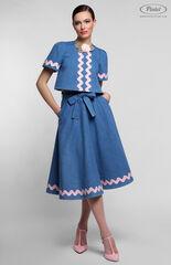 Костюм женский Pintel™ Джинсовый костюм с отделкой хлопковой лентой TARU