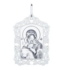 Ювелирный салон Sokolov Серебряная нательная иконка с ликом Божьей Матери Владимирской 94100228