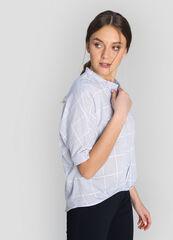 Кофта, блузка, футболка женская O'stin Хлопковая блузка в клетку с удлинённой спинкой LS4W84-61