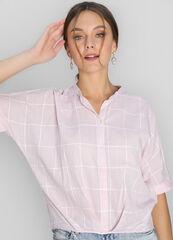 Кофта, блузка, футболка женская O'stin Хлопковая блузка в клетку с удлинённой спинкой LS4W84-X1