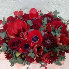 Магазин цветов Прекрасная садовница Композиция в коробке с анемонами и амариллисами