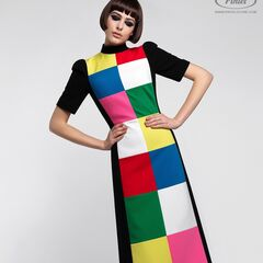 Платье женское Pintel™ Комбинированное приталенное миди-платье Kacia