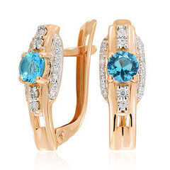 Ювелирный салон Jeweller Karat Серьги золотые с бриллиантами и топазом арт. 3225839/91