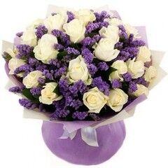 Магазин цветов Florita (Флорита) Букет поздравительный из белых роз и фиолетовой статици