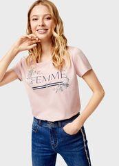Кофта, блузка, футболка женская O'stin Футболка с принтом LT4U36-X1