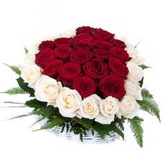 "Магазин цветов Долина цветов Корзина с цветами  ""Сердце из роз"""