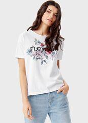 Кофта, блузка, футболка женская O'stin Футболка с принтом «цветы» LT1T38-00