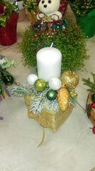 Магазин цветов Florita (Флорита) Новогодняя композиция на 1 свечу на натуральной основе арт. 201224