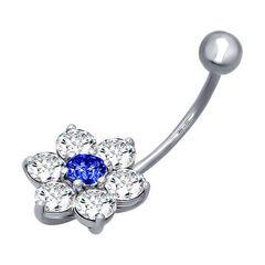 Ювелирный салон Sokolov Пирсинг в пупок из серебра с синим фианитом 94060048