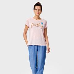 Кофта, блузка, футболка женская O'stin Футболка с вышивкой пайетками LT4UA3-X1