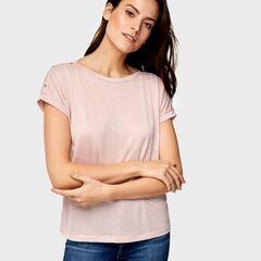 Кофта, блузка, футболка женская O'stin Футболка с пуговицами на плечах LT4U5D-X1