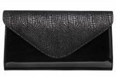 Магазин сумок Vera Pelle Клатч черный 1-03