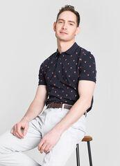 Кофта, рубашка, футболка мужская O'stin Рубашка-поло с животным микропринтом MT4W76-68