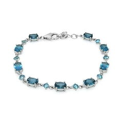 Ювелирный салон Evora Браслет из серебра 925 пробы с синими топазами Лондон блю 628329