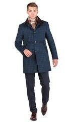 Верхняя одежда мужская HISTORIA Пальто синее утепленное в крупную клетку C.Bll.C.cri002