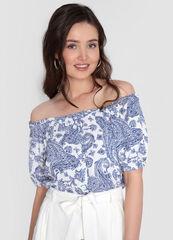 Кофта, блузка, футболка женская O'stin Структурная блузка с открытыми плечами LS1WC2-00