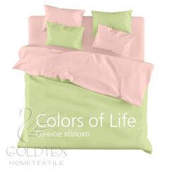 Подарок Голдтекс Однотонное белье евро размера «Color of Life» Сочное яблоко