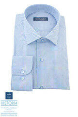 Кофта, рубашка, футболка мужская HISTORIA Рубашка в мелкую бело-голубую клетку