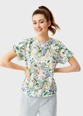 Кофта, блузка, футболка женская O'stin Футболка  в цветoчный принт LT1SA3-00