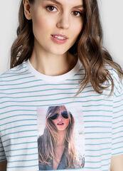 Кофта, блузка, футболка женская O'stin Полосатая футболка с принтом LT1W65-P5