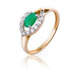 Ювелирный салон Jeweller Karat Кольцо золотое с бриллиантами и хризопразом арт. 3216026/9
