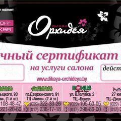 Магазин подарочных сертификатов Дикая орхидея Подарочный сертификат