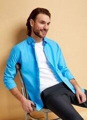Кофта, рубашка, футболка мужская O'stin Однотонная рубашка MS6S11