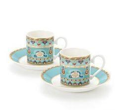 Подарок Villeroy&Boch Набор для эспрессо Samarkand Aquamarin, 4 предмета (2 чашки для эспрессо с блюдцами) голубого цвета