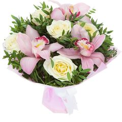 Магазин цветов Долина цветов Букет орхидей и роз для мамы